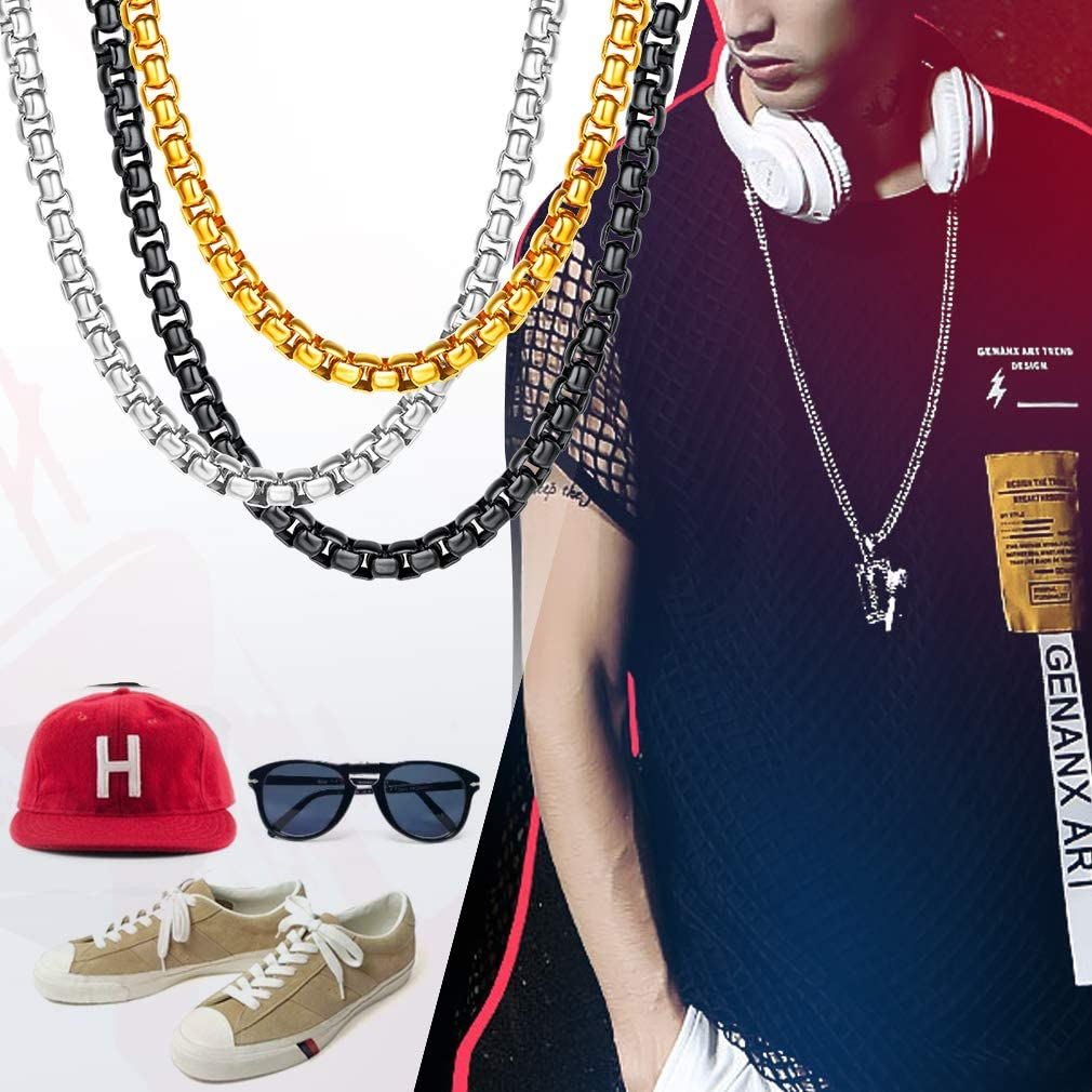 Send Gift Box 18K Gold Plated//316L Stainless Steel DIY Hip Hop Necklace for Men//Women FaithHeart 3//6MM Twisted Rolo Rope Chains Chain for Pendant 18-30 Customize Available