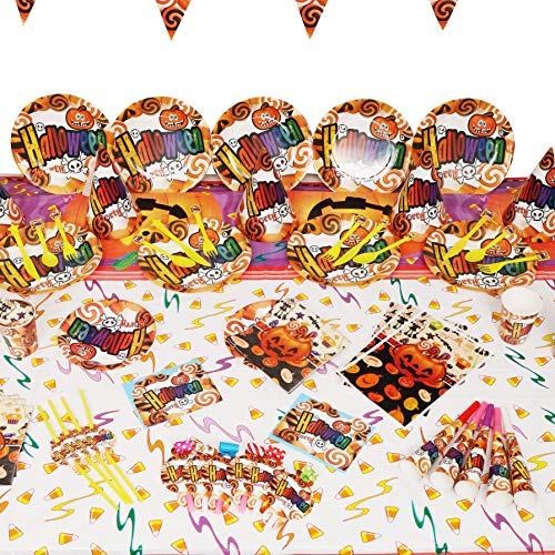 Party Accessories for Halloween—Huge Collection of Halloween Supplies All in One—Festive Decorations and décor - Include Paper Plate, Cup, Balloon, Table Cloth, Banner, Invitations