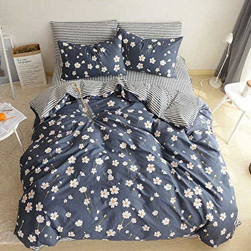 - BHUSB Daisy Floral Bedding Duvet Cover Sets Twin for Girls Teens 3 Piece Premium Cotton Bedding Sets with Stripe Gingham Pattern Reversible Design Flower Bedding Collection Twin