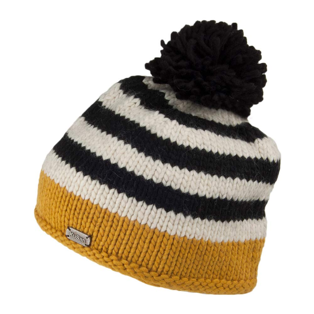 5e869b57 Kusan Hats Moss Yarn Bobble Hat - Yellow 1-Size: Amazon.co.uk: Clothing