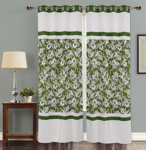 Dekor World Cotton Floral Printed Curtain Set -5 Feet Long