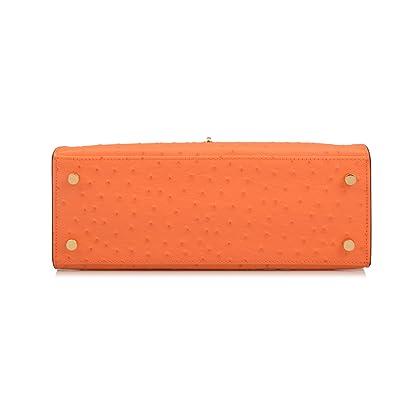 a3e0718b85e0 ... Orange Ainifeel Women s Padlock Ostrich Embossed Leather Should Handbag  Hobo Bag (28cm-medium