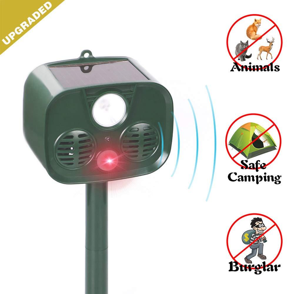 Solar Ultrasonic Animal Repeller, Outdoor Pest Control Cat Repellent with Motion Detector, Waterproof Garden Animal Deterrent Scare Away Dog, Deer, Foxes, Skunk, Squirrels
