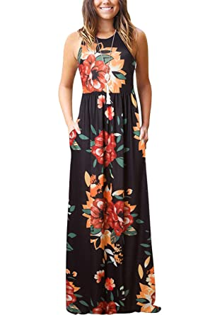 a075ed099 Women's Summer Casual Floral Sleeveless Loose Plain Long Maxi Dress with  Pockets