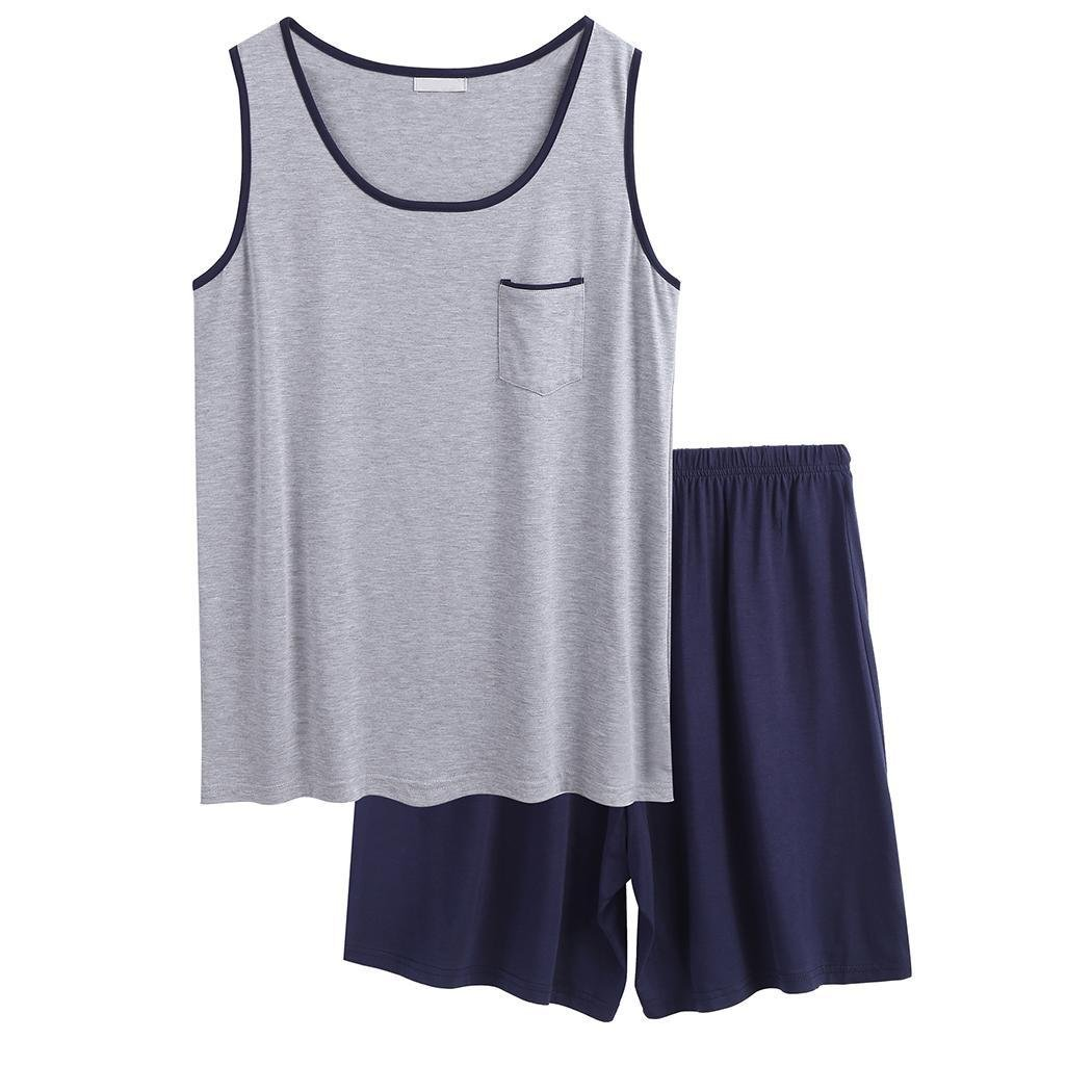 Skylin Comfy Sleepwear Mens Summer Pajama Set Solid Two Piece PJ Set (Navy Blue, Small)