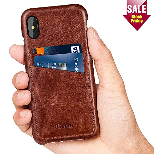 Price comparison product image iPhone X Case,  Benuo [Card Slot Vintage Series] Genuine Leather Case with 2 Card Slots,  Ultra Slim Leather Case Back Cover for iPhone X (Stylish Brown)