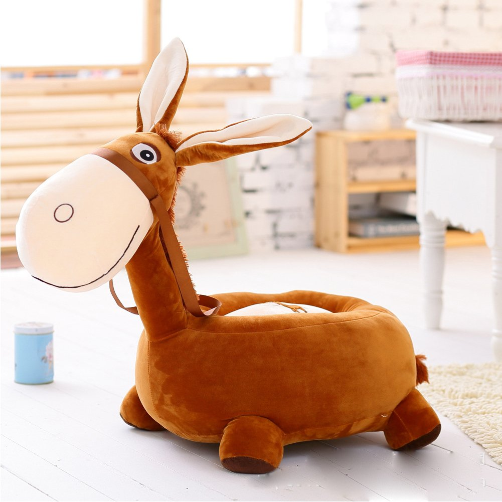 MeMoreCool Adorable Little Donkey Preschool Kindergarten Kids Plush Chair,Animal Sofa Chair,Gifts for Children Boys and Girls on Christmas Birthday,Brown