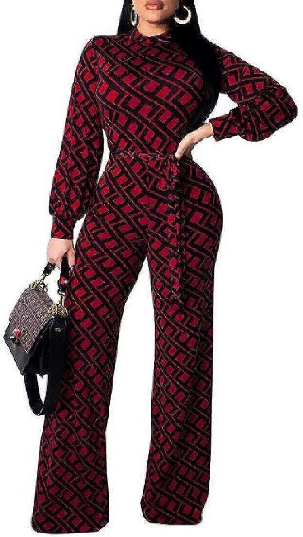 UUYUK Women Print Long Sleeve Zipper Wide Leg Belted Rompers Jumpsuit