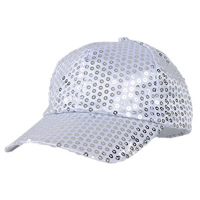 Bluelans Glitter lentejuelas gorras de béisbol Snapback sombreros ajustables  vestido fiesta danza sombreros para Unisex Hombre 8adf46d2f93