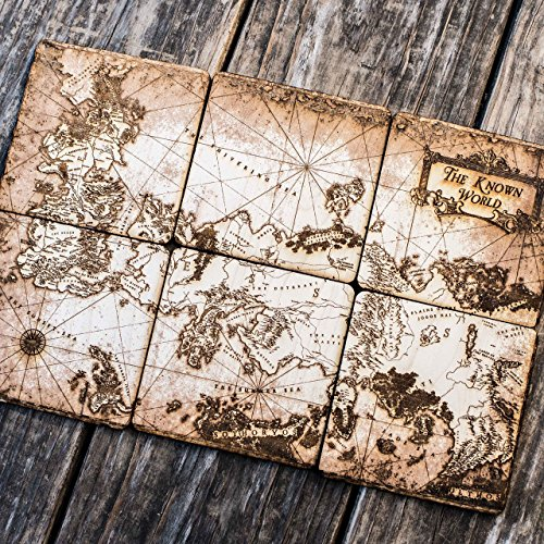 The Known World Wood Coaster Set 4x4in Raw Wood