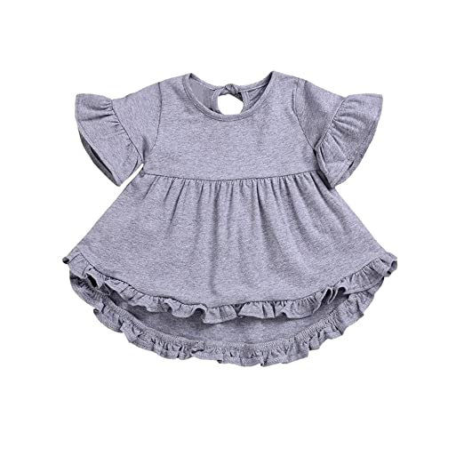 9a4d49802 Amazon.com: Toddler Baby Girls Clothes Sets for 12 Months-5T,Trumpet  Sleeves Solid Color Short Irregular Skirt Jumpsuit Dress Outfits: Clothing