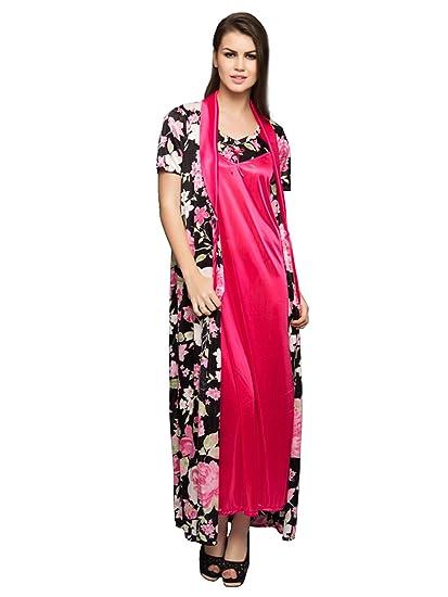 221f374a45 Clovia Women s 2 Pcs Printed Satin Nightwear in Black   Pink - Robe    Nightie (