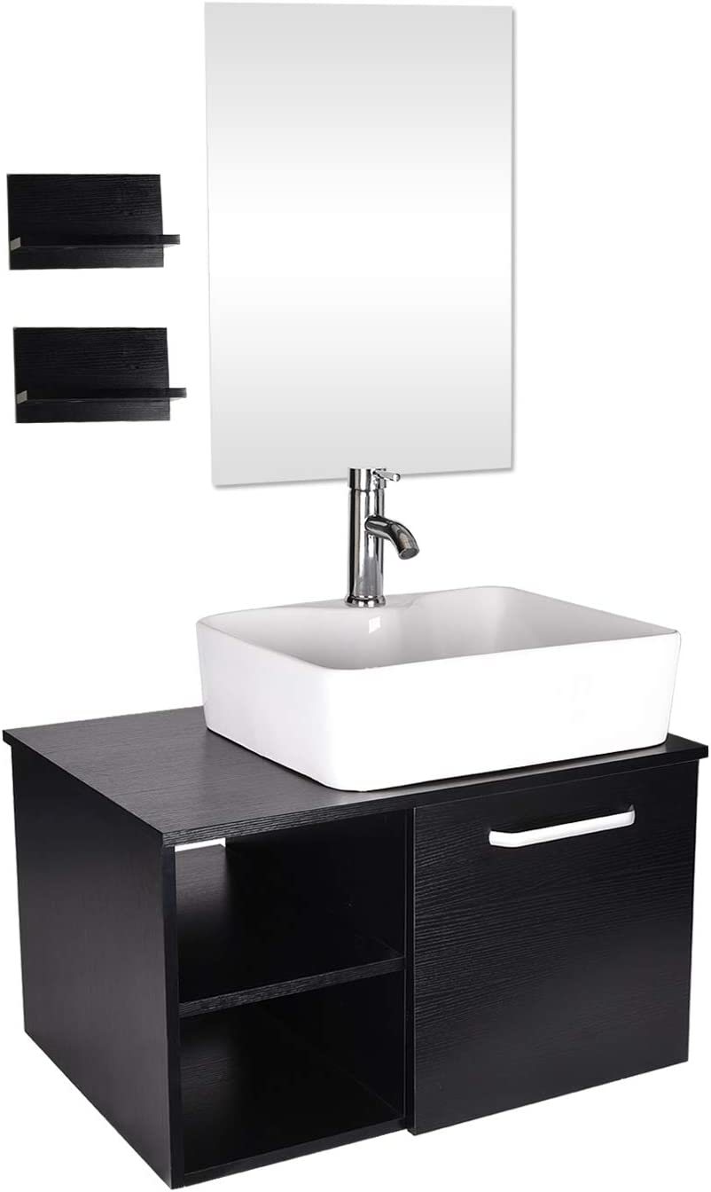 28 Inch Bathroom Vanity And White Ceramic Sink Combo With Mirror