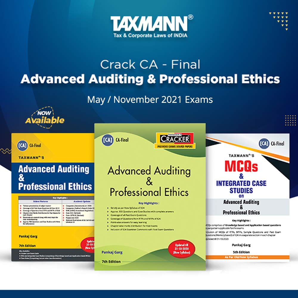 Taxmann's Combo for CA Final 2021 Exams – Paper 3 | Advanced Auditing & Professional Ethics | Text Book, Cracker & MCQs | 2021 Edition | Set of 3 Books