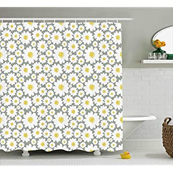 Ambesonne Floral Shower Curtain By Cartoon Like Flowers Daisies Spring Time Season Pollens Artwork Print