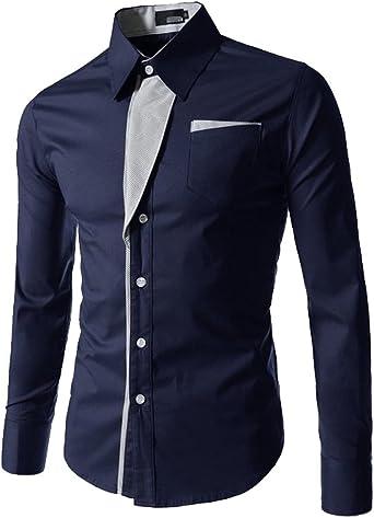 Camisas Slim Fit Hombre Camisa Regular Fit Básica Cuello Clásico Camisas de Vestir Formal Caballero Camisas Vestidos Entalladas Casuales para Hombres Camisetas Manga Larga Business Moda: Amazon.es: Ropa y accesorios