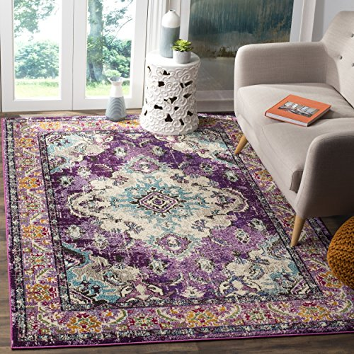 Safavieh Monaco Collection MNC243L Vintage Bohemian Violet and Light Blue Distressed Square Area Rug (5' Square)