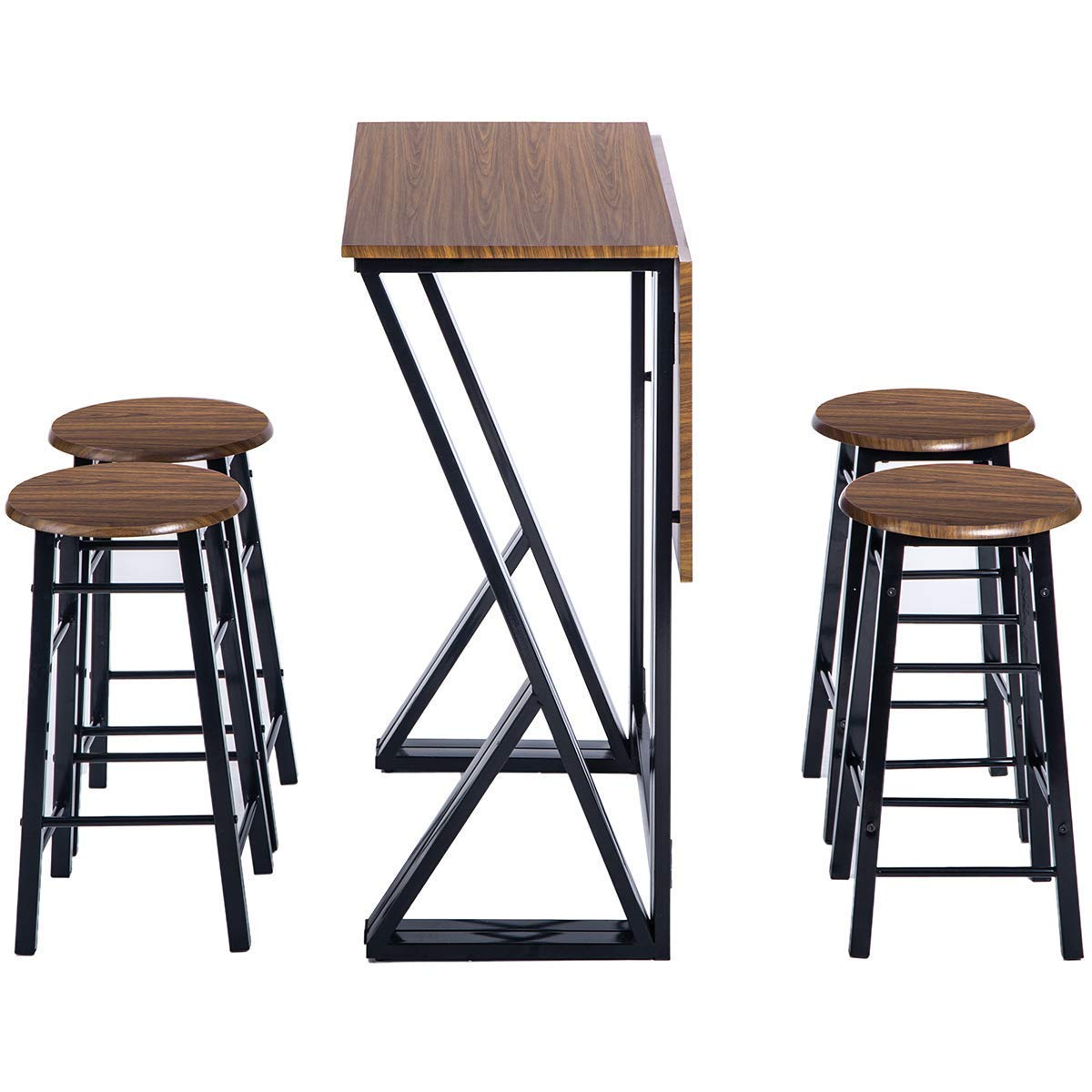 Monto Bar Table Set Indoor Metal Counter Height Dining Table Set Drop Leaf Folding Table with 4 Bar Stools Home- Brown 2