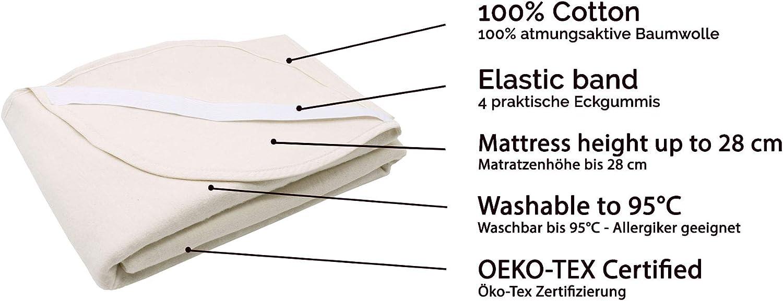 70x140 cm ZOLLNER Matratzenschoner Baumwolle 440g//qm Eckgummis