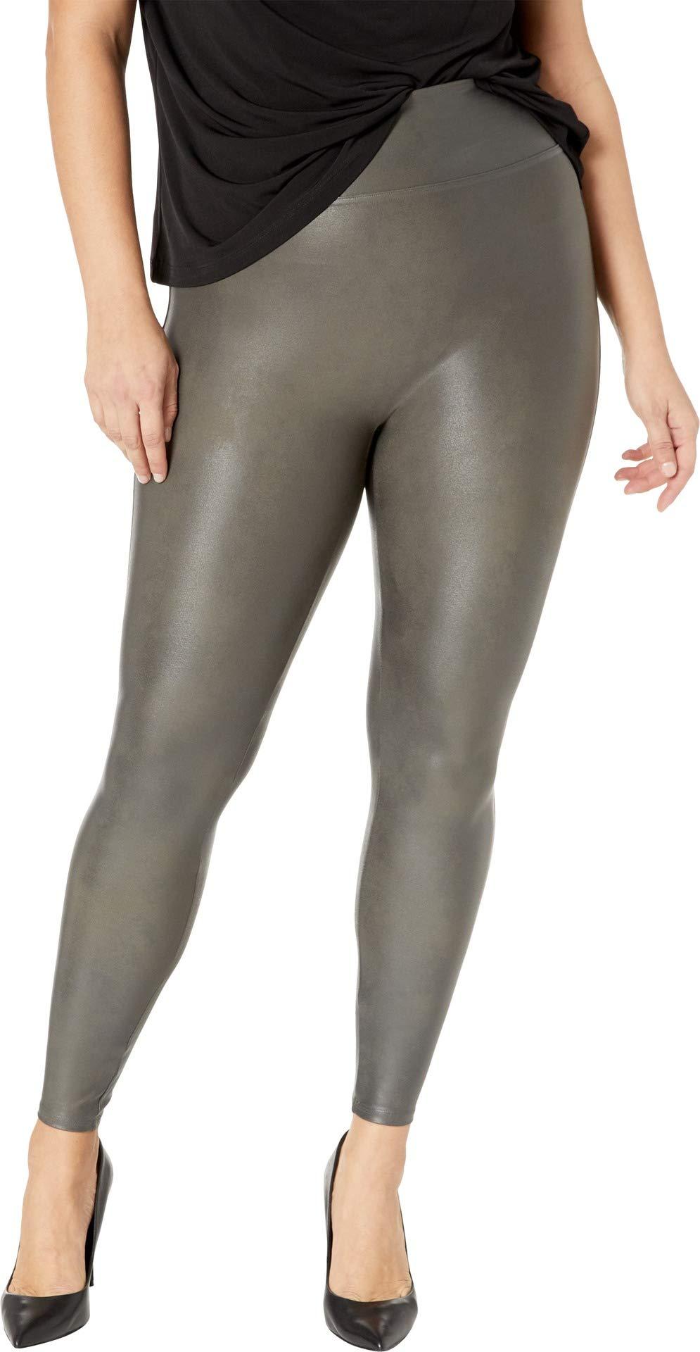 66771a33438761 Galleon - SPANX Women's Plus Size Faux Leather Leggings Gunmetal 1X 27