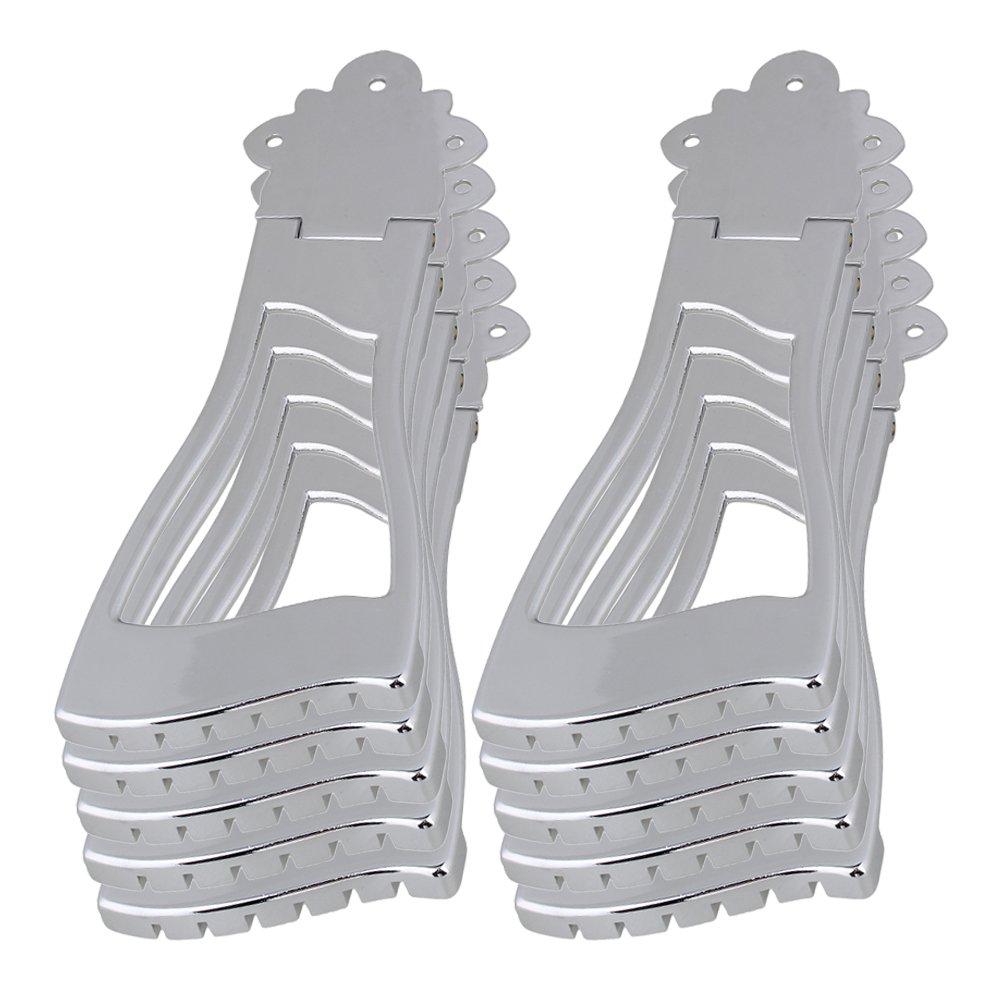 Yibuy Chrome Tailpiece Bridge for 6 String Jazz Archtop Guitar Set of 10