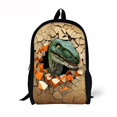 0a50813662b4 DUOLIFU Animal Dinosaur Printed School Backpack Travel Bag For Elementary  Kids