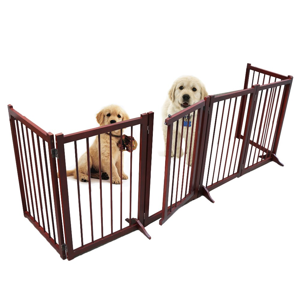 Freestanding Wooden Pet Gate, 6 Panel Folding Wooden Fence, Dog Puppy Gate for Indoor Hall Doorway Stairs, Fits Small Medium Animals