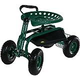 Sunnydaze Rolling Garden Cart with Extendable Steering Handle, Swivel Seat & Basket, Green