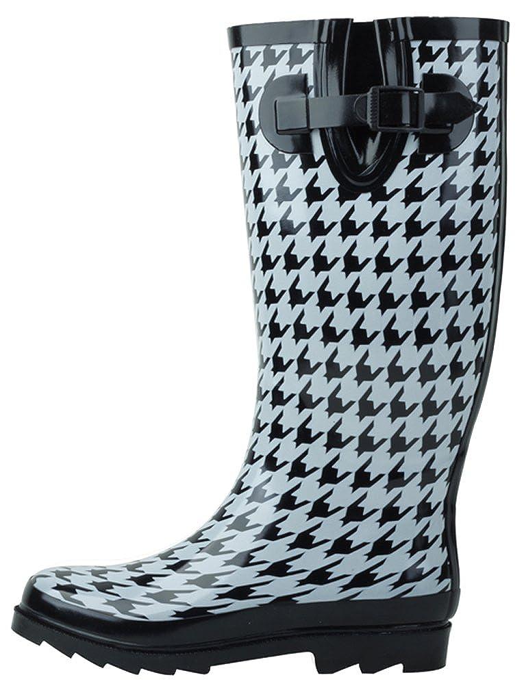Houndstooth Cambridge Select Women's Waterproof Pattern Print Knee High Welly Rain Boot