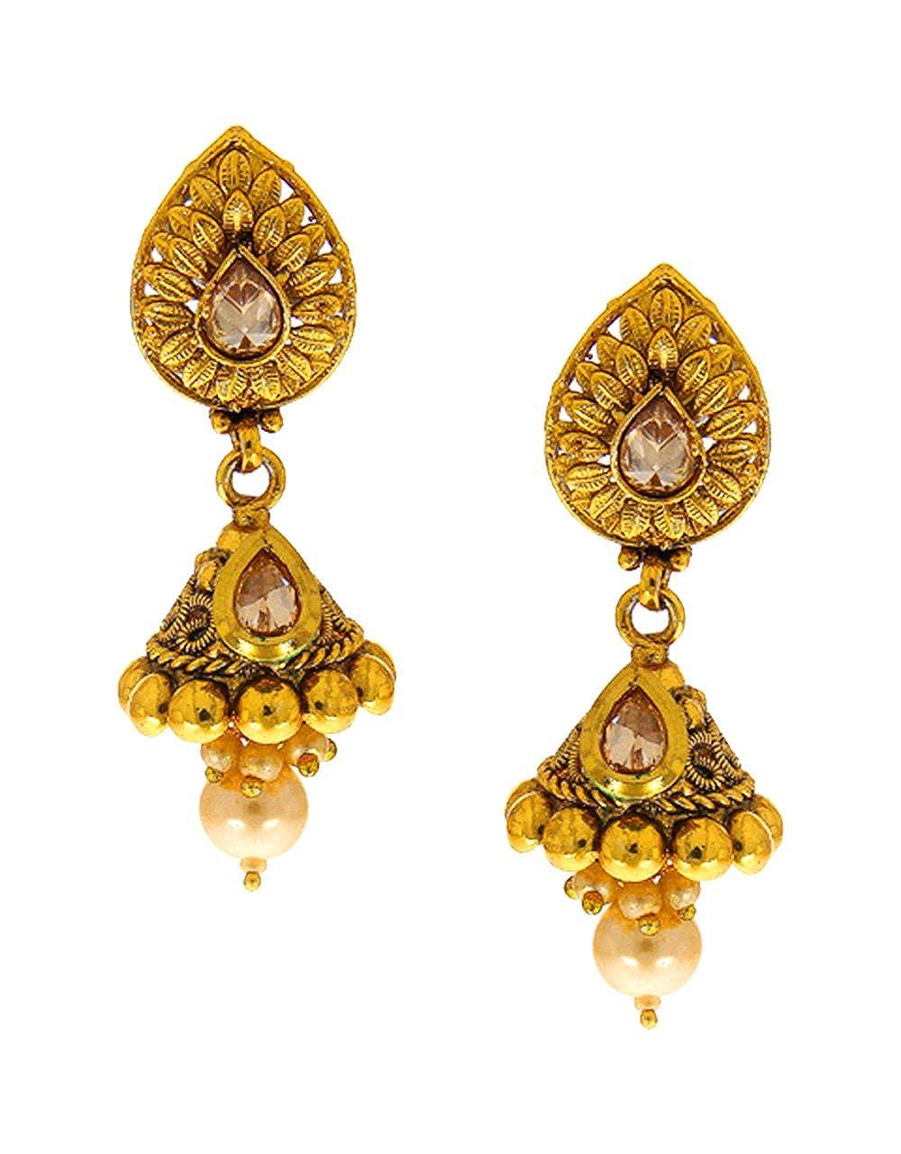 Anuradha Art Gold Finsih Studded Sparkling Stone Traditional Earrings Jhumki For Women//Girls
