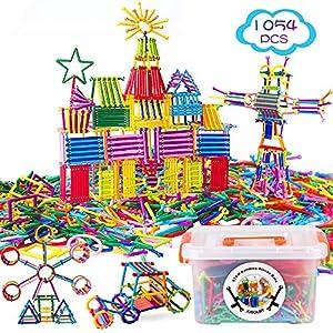 Best Epic Trends 61T02DGTzXL._SS300_ Juboury 1054Pcs Building Toy Building Blocks Bars Different Shape Educational Construction Engineering Set 3D Puzzle…