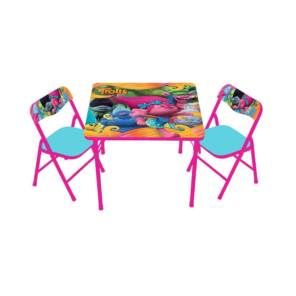 Trolls activity table set toddler bedroom decor furniture for Bedroom table chairs