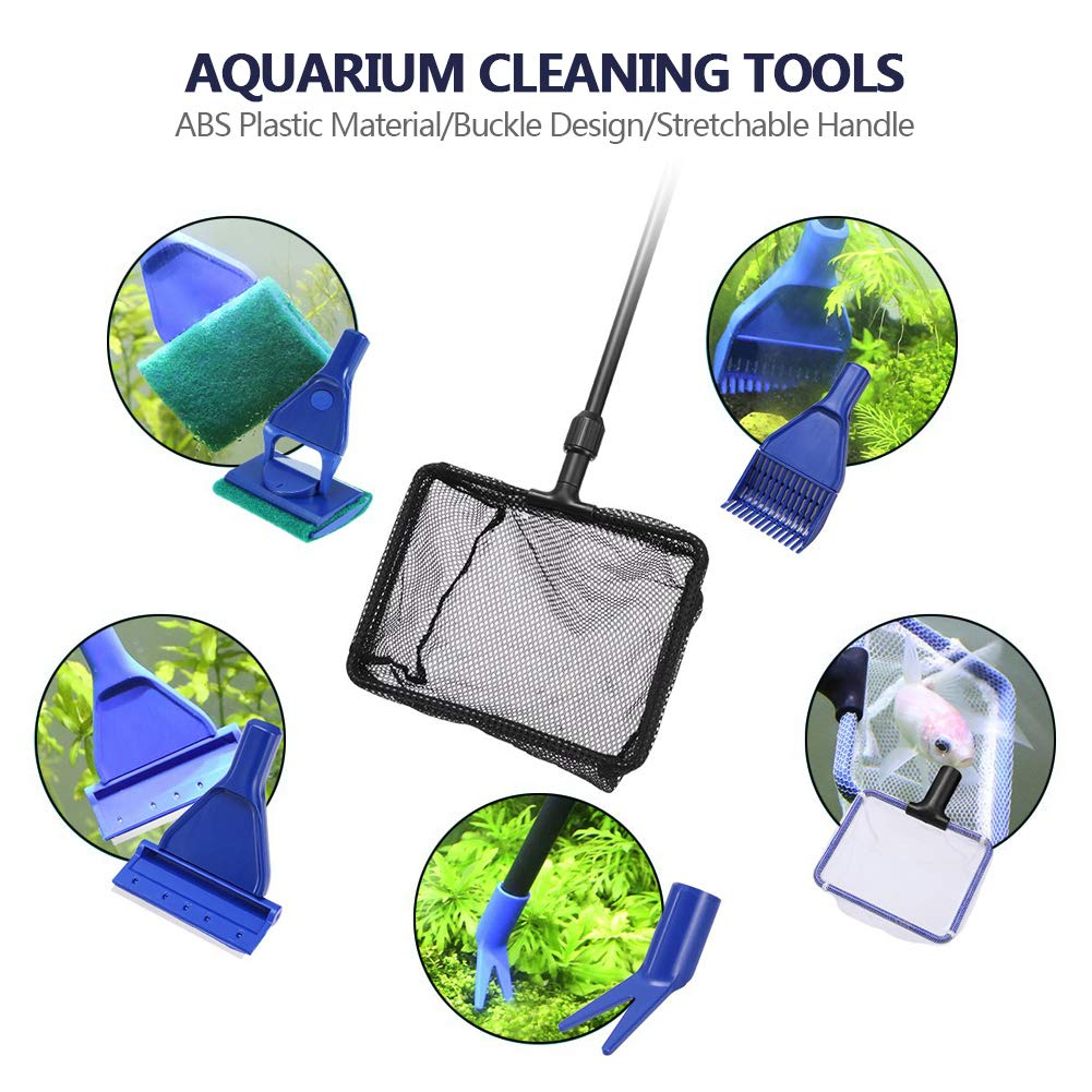 Toopify Aquarium Fish Tank Clean Tools, 6 in 1 Adjustable Cleaning Kit & Fish Tank Gravel Cleaner Siphon for Water Changing and Sand Cleaner by Toopify (Image #7)