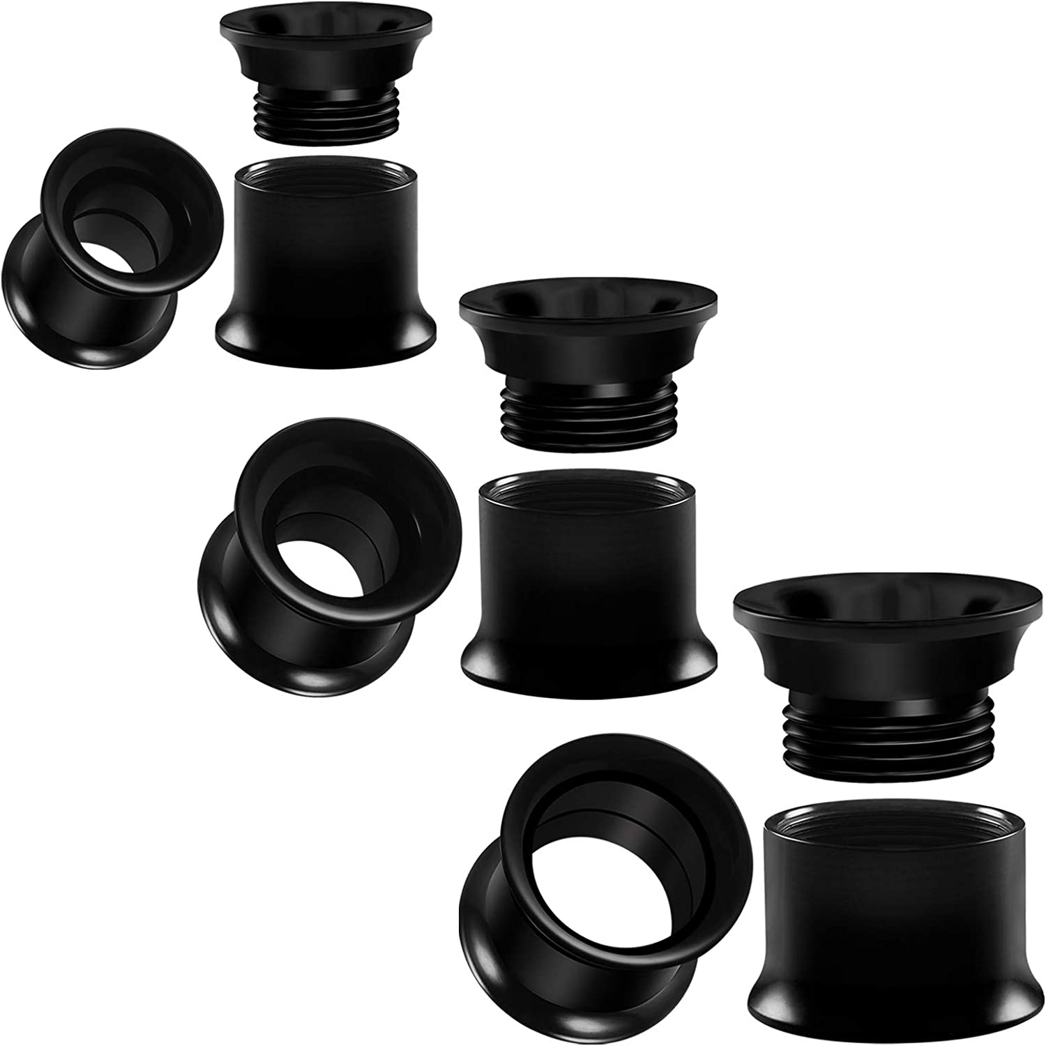 BIG GAUGES 3 Pairs Black Acrylic Double Flared Saddle Flesh Tunnel Screw-fit Piercing Jewelry Ear Stretcher Plugs Earring Lobe