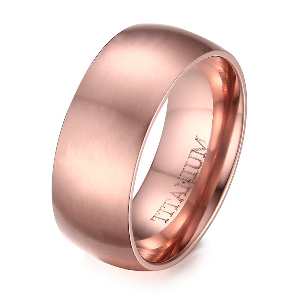 Amazon.com: Women\'s 8mm Titanium IP Rose Gold Plated Plain Wedding ...