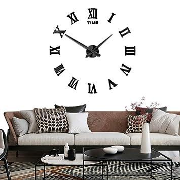 Silenciar DIY Frameless Gran Reloj de Pared Números Romanos 3D Relojes de Pared Espejo Pegatina Para Ministerio del Interior Decoraciones - 2 Años de ...