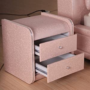 HOMRanger Pink Leather Bedside Table Hotel Furniture Bedside Table Hotel Furniture Bedside Table Cabinets-A 46x42x48cm(18x17x19)
