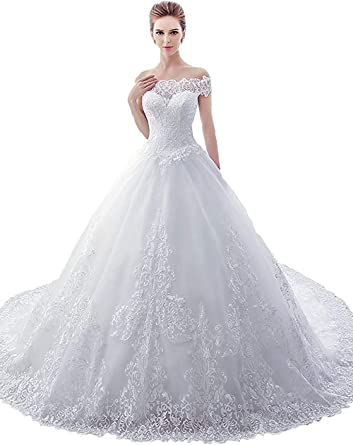 Huifany Womens Off Shoulder Ball Gown Lace Wedding Dress Bridal Gowns Sweep Train