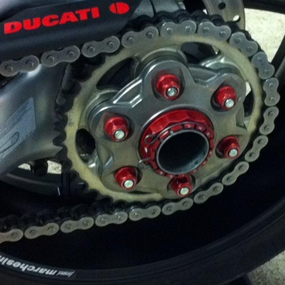 Red CNC Racing Rear Sprocket Nuts Set For Kawasaki Ninja ZX10R EX300 Zephyr 550 Ninja ZX6 ZX1000 ABS