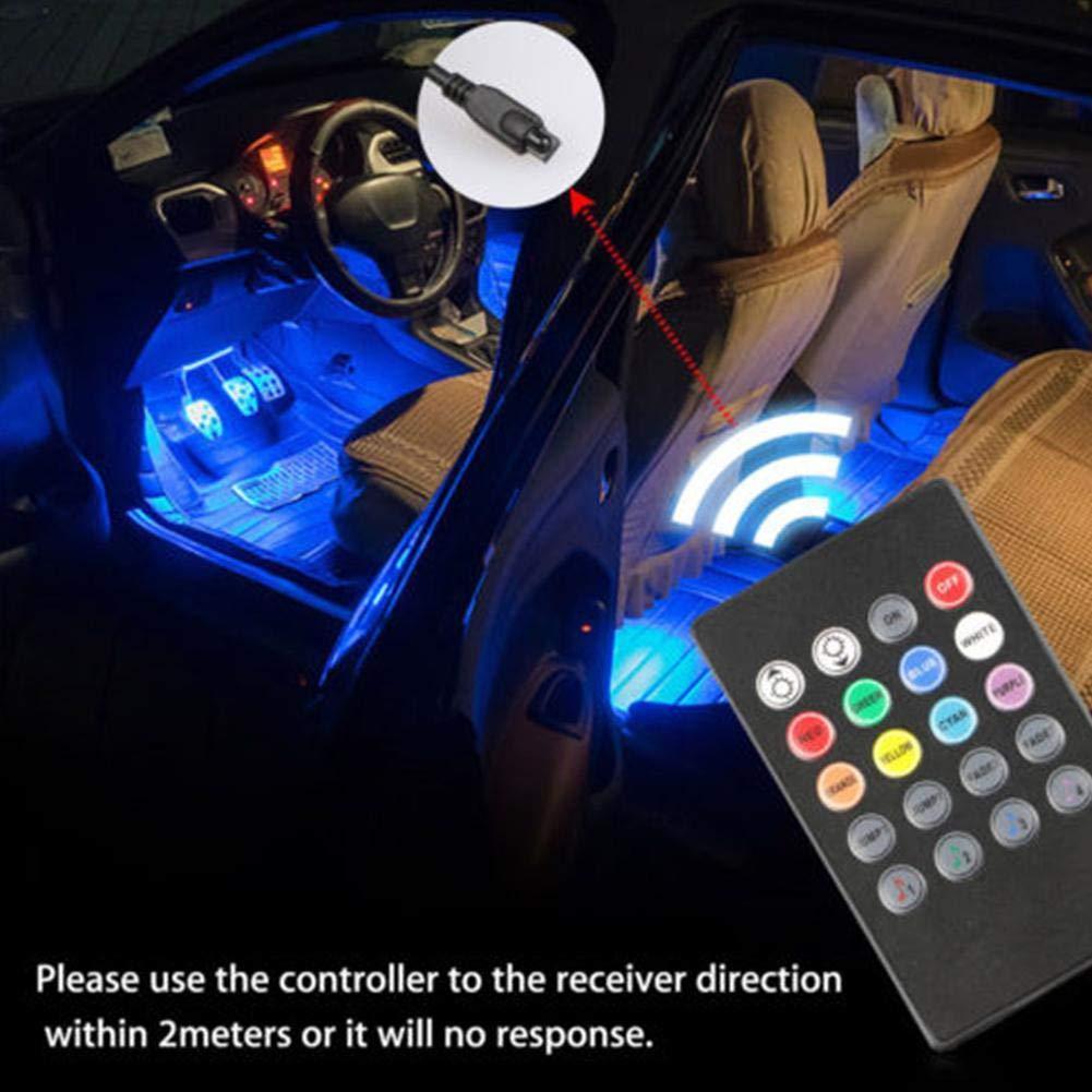 ZHIXX MALL Auto Innenbeleuchtung Bunt Atmosph/äre Licht,12V 1A Auto Streifen Licht Leuchten Innenraumbeleuchtung f/ür KFZ,LKW Auto Innenraum Zubeh/ör//Interior Dcoration Mit Fernbedienung