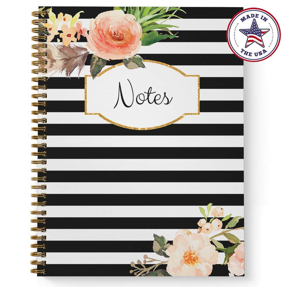 Softcover Classic Floral Notes 8.5'' x 11'' Spiral Notebook/Journal, 120 College Ruled Pages, Durable Gloss Laminated Cover, Gold Wire-o Spiral. Made in the USA