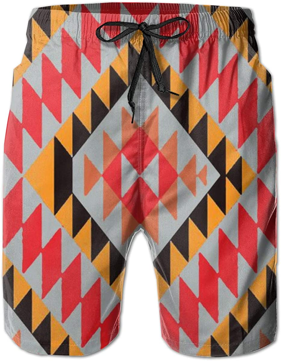 xiaolang Native Pattern Mens 3D Printed Funny Swim Trunks Quick Dry Beachwear Sports Running Swim Board Shorts Mesh Lining