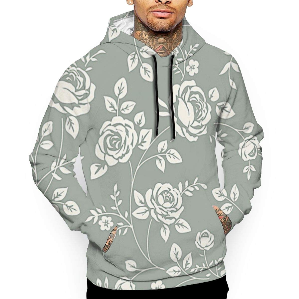 Vintage Rose Print Sweaters With Pockets Hoodie Fashion
