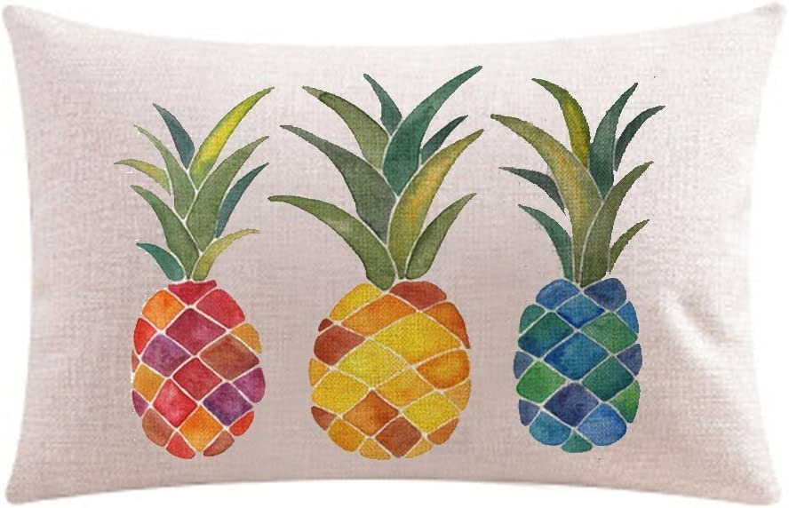Amazon Com Andreannie Ink Painting Fresh Color Fruit Pineapples Cotton Linen Throw Waist Lumbar Pillow Case Cushion Cover Home Office Decorative Rectangle 12 X 20 Inches Home Kitchen