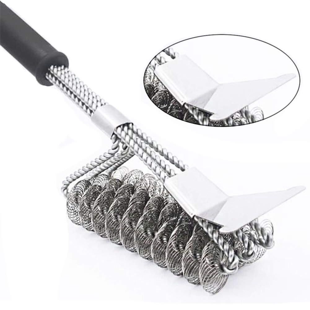 """Carejoy 18"""" Grill Brush with Scraper 3 in 1 stainless steel BBQ Barbecue Grill Clean Brush Bristle Free Grill Brush for Charcoal Infrared or Gas Grill"""