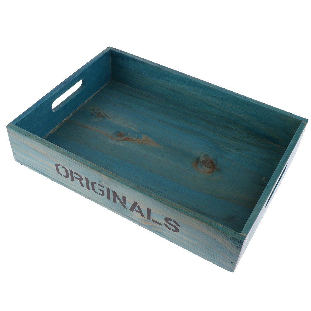 Fityle Home Storage Serving Rectangle Vintage Wooden Storage Tray Sundries Organizer Box Holder - Blue, 33.8x25x6.8cm