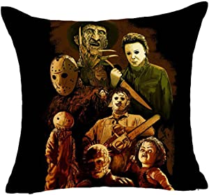 Fyon Ghost Freddy Toy Bear Doll Horror Game Cushion Cover Classic Game Pillow Cover Decorative Pillows for Sofa Car 18x18inch 10X