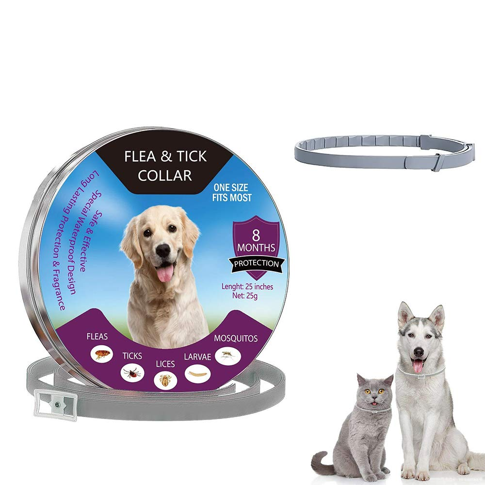 Aiwer Flea and Tick Collar for Dog Cat,Pet Deworming Collar Effective Protection Adjustable Length 60cm for Small Medium Large Pets Gray
