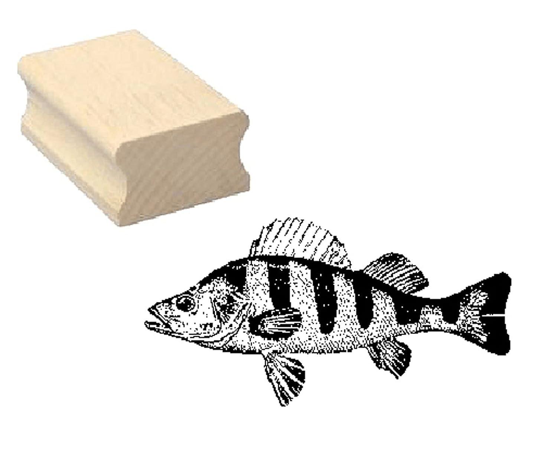 Stempel Holzstempel Motivstempel « BARSCH » Scrapbooking - Embossing Kinderstempel Tierstempel Angeln Fischen Angler