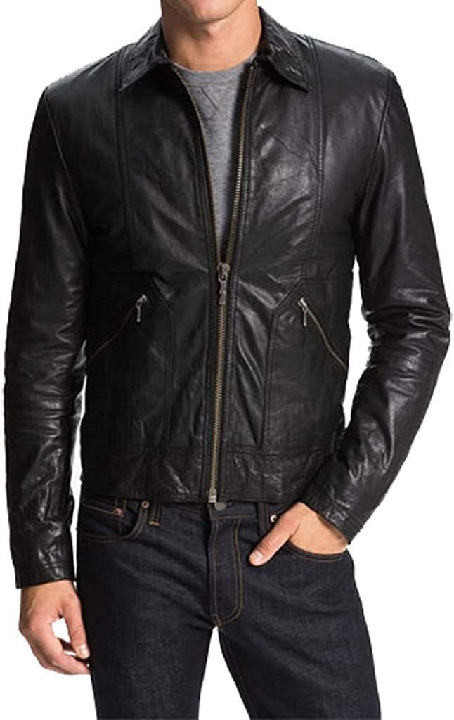 Mens Fashionable Slim Fit Motorcycle Bomber Cow Leather Jacket KC269